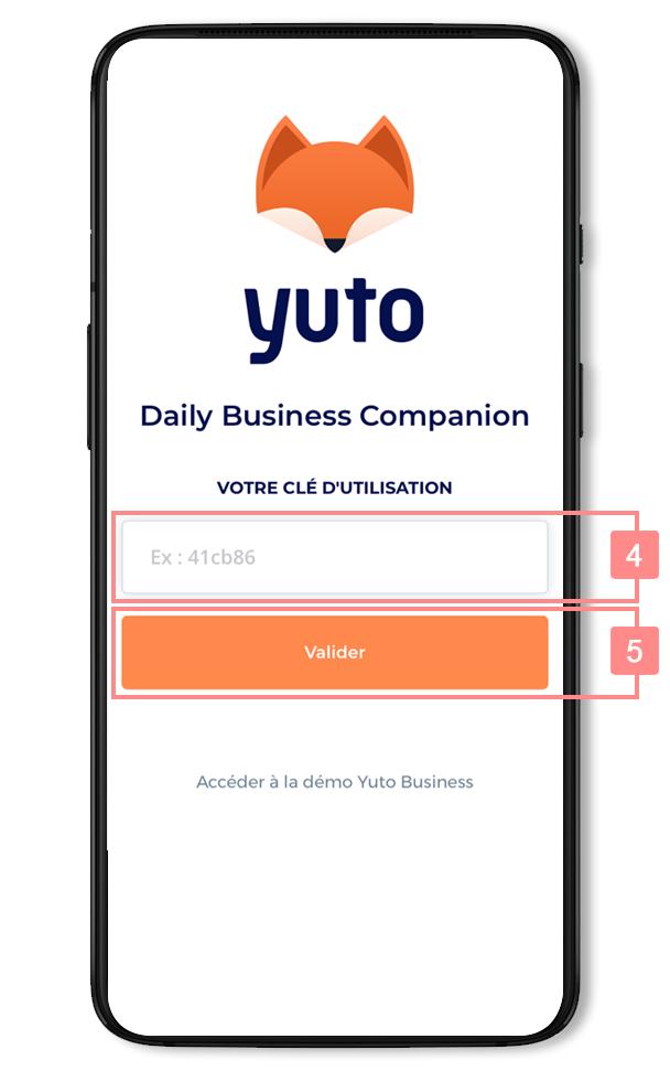 Saisir la clé d'utilisation dans Yuto - Site d'aide RiaShop / Yuto