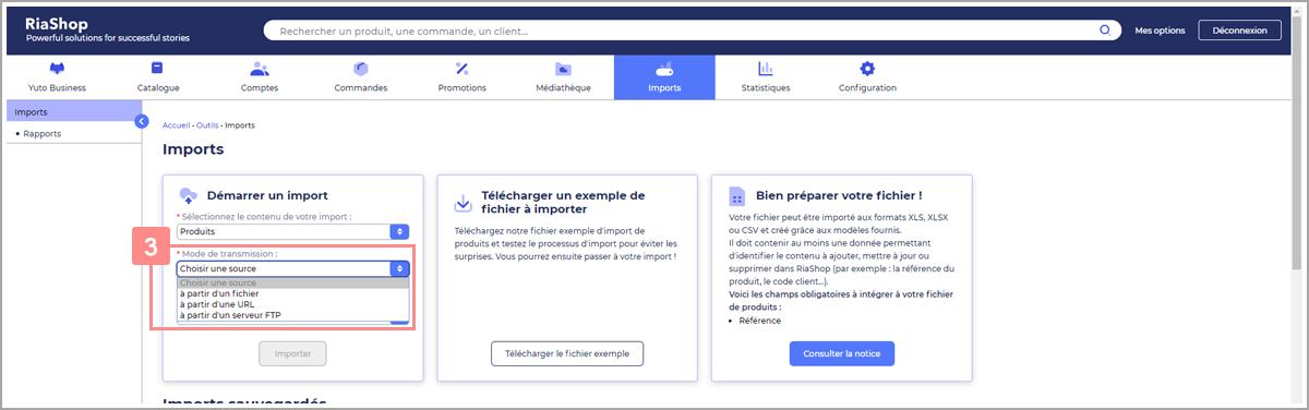Choisir le mode de transmission du fichier de produits - Centre d'aide RiaShop et Yuto