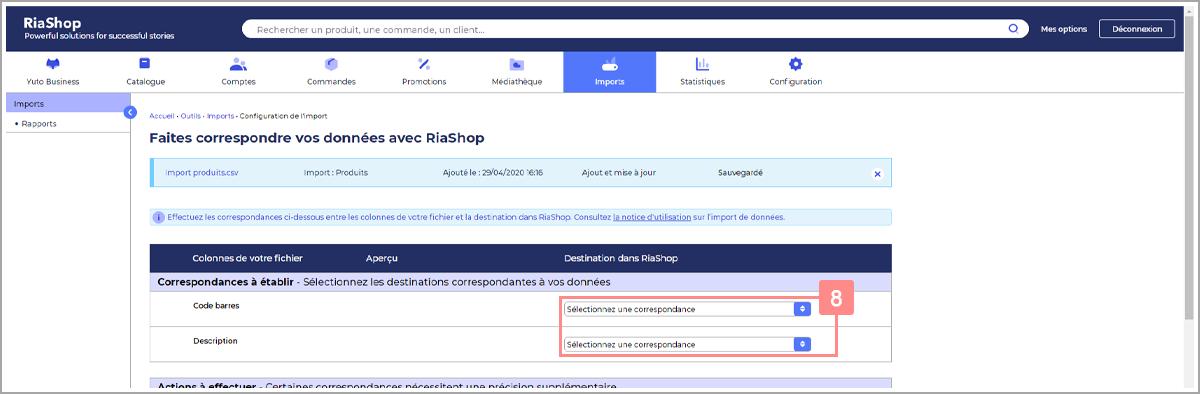 Etablir les correspondances manquantes pour le fichier de produits - Centre d'aide RiaShop et Yuto