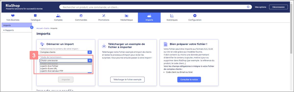 Choisir mode de transmission fichier comptes clients - Centre d'aide RiaShop et Yuto