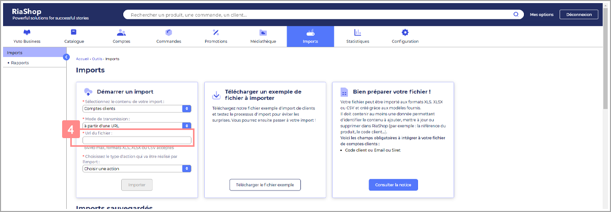 Saisir URL du fichier de comptes clients - Centre d'aide RiaShop et Yuto
