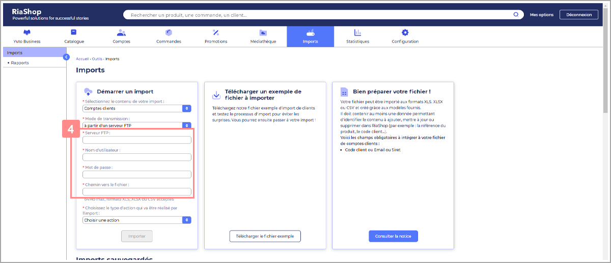 Saisir les informations du serveur pour import fichier comptes clients - Centre d'aide RiaShop et Yuto