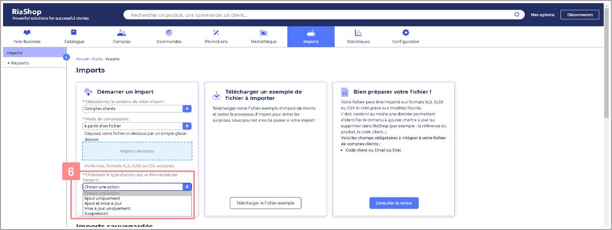 Choisir type d'action pour import de comptes clients - Centre d'aide RiaShop et Yuto