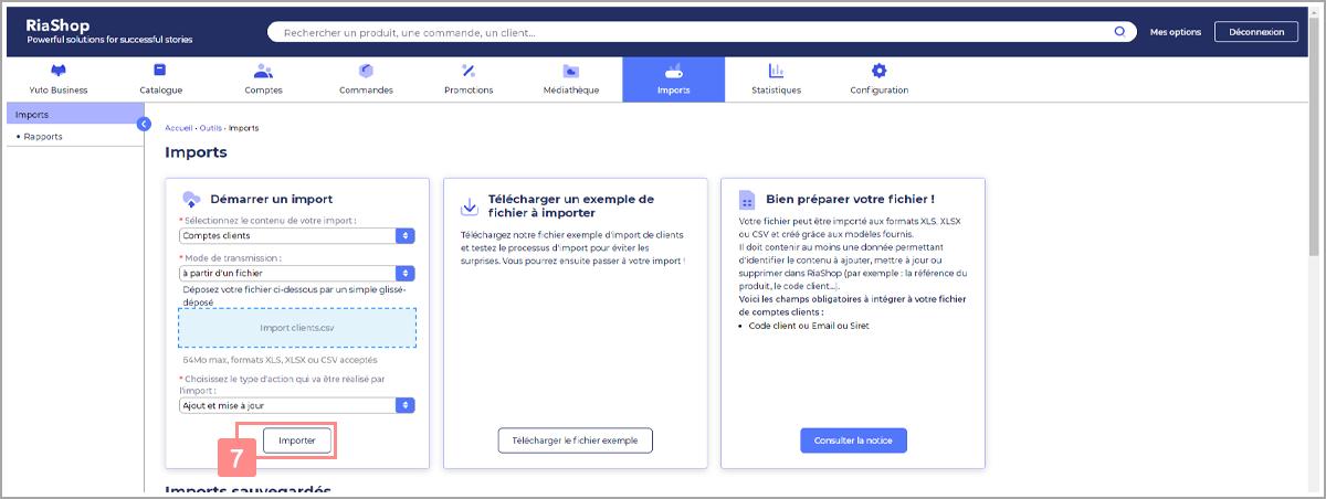 Cliquer sur Importer pour débuter la configuration de l'import de comptes clients - Centre d'aide RiaShop et Yuto