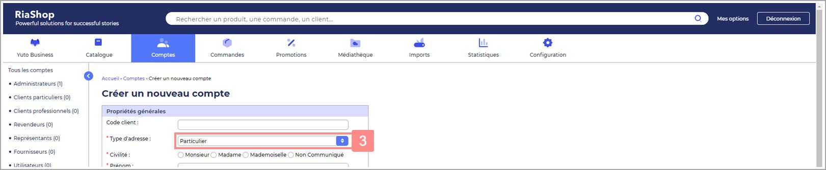 Choisir type d'adresse du nouveau compte - Site d'aide RiaShop / Yuto