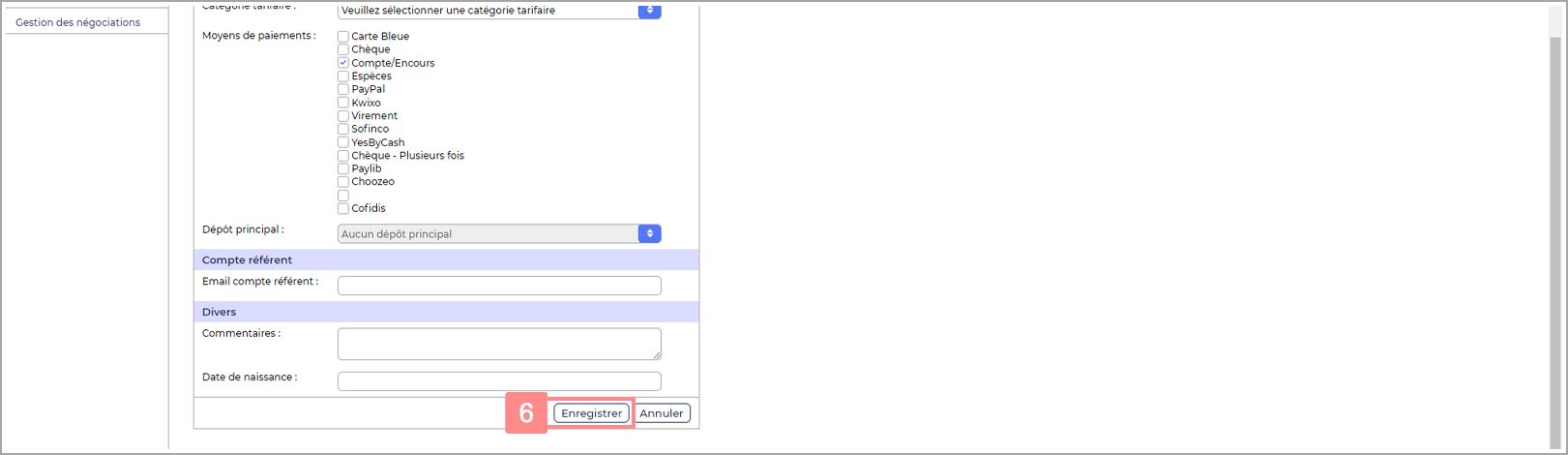 Enregistrer nouveau compte utilisateur - Site d'aide RiaShop / Yuto