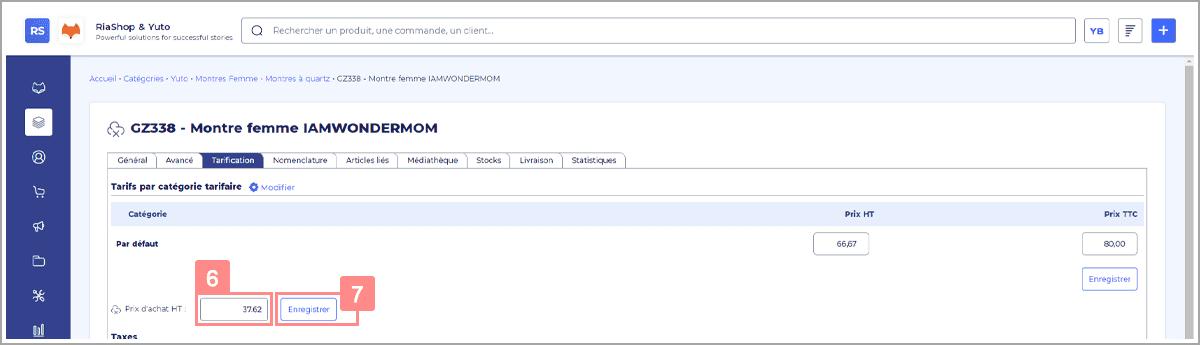 Actualiser le tarif d'achat des produits dans RiaShop