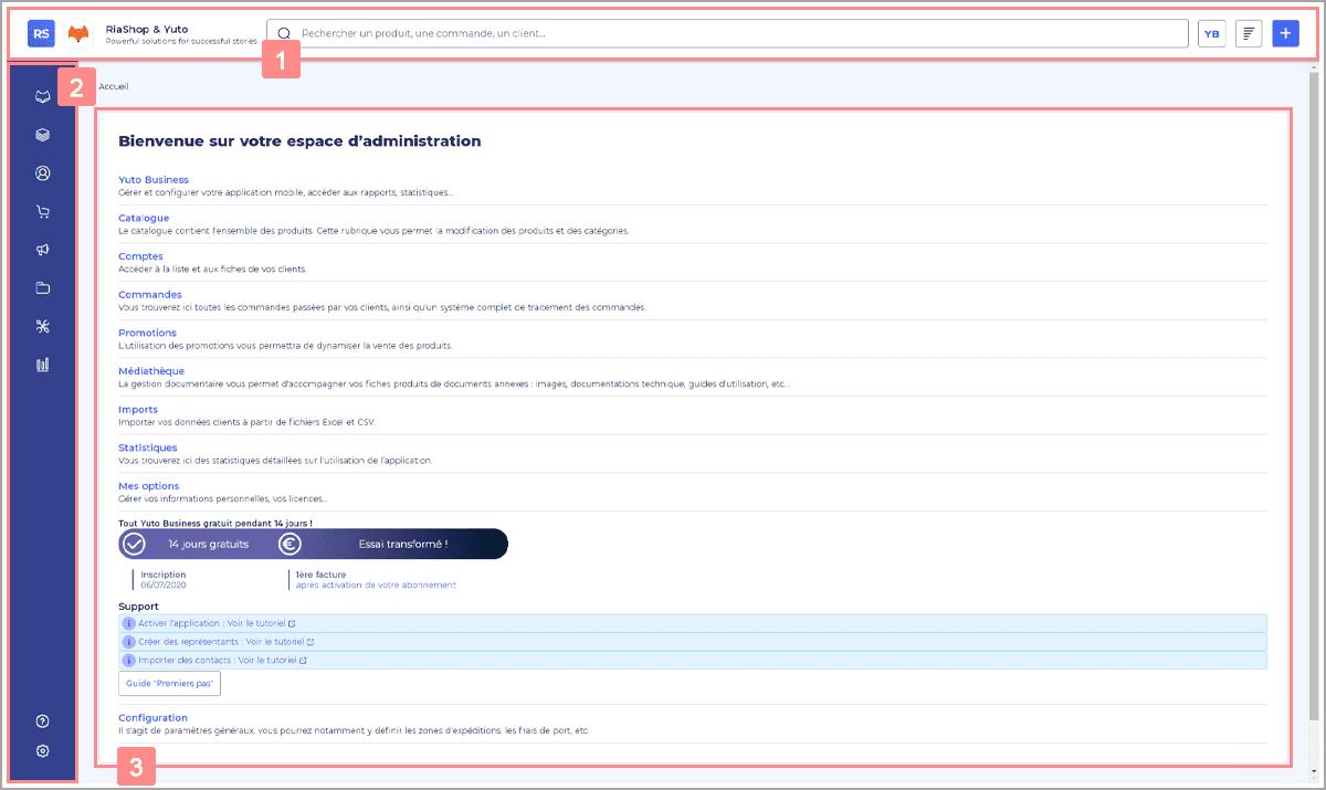 Administration Yuto Business - Présentation de la page d'accueil