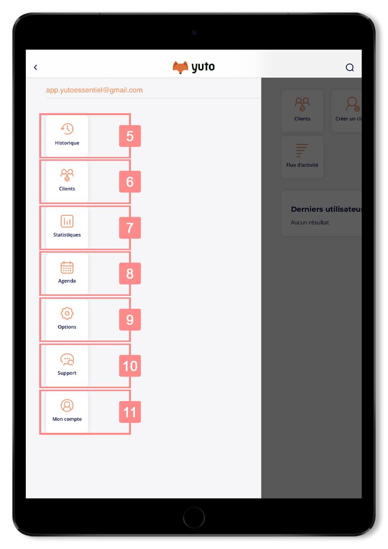 Menu de l'application Yuto Essentiel - Site d'aide RiaShop / Yuto
