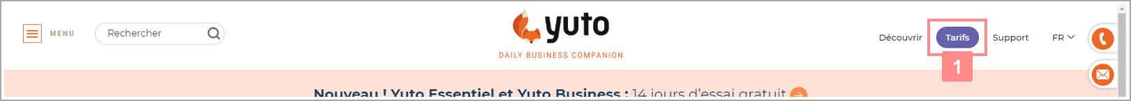 """Cliquer sur """"Tarifs"""" dans l'entête du site yuto.fr - Site d'aide RiaShop / Yuto"""