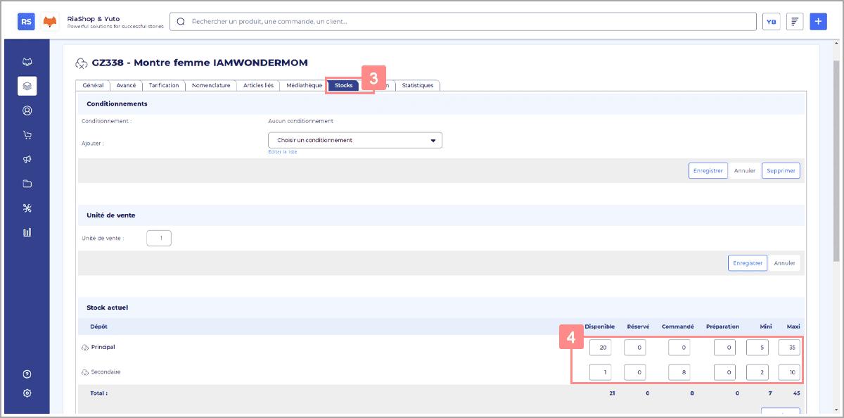Actualiser les stocks des produits dans l'administration RiaShop