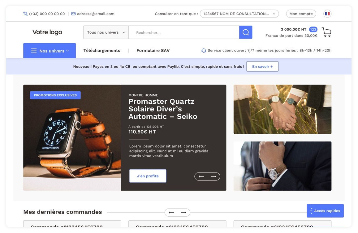 Aperçu Extranet B2B standardisé RiaShop E-Commerce