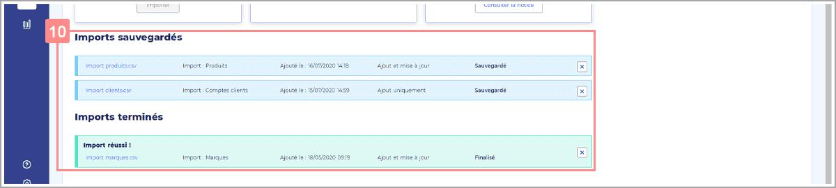 Import RiaShop - Listes des imports