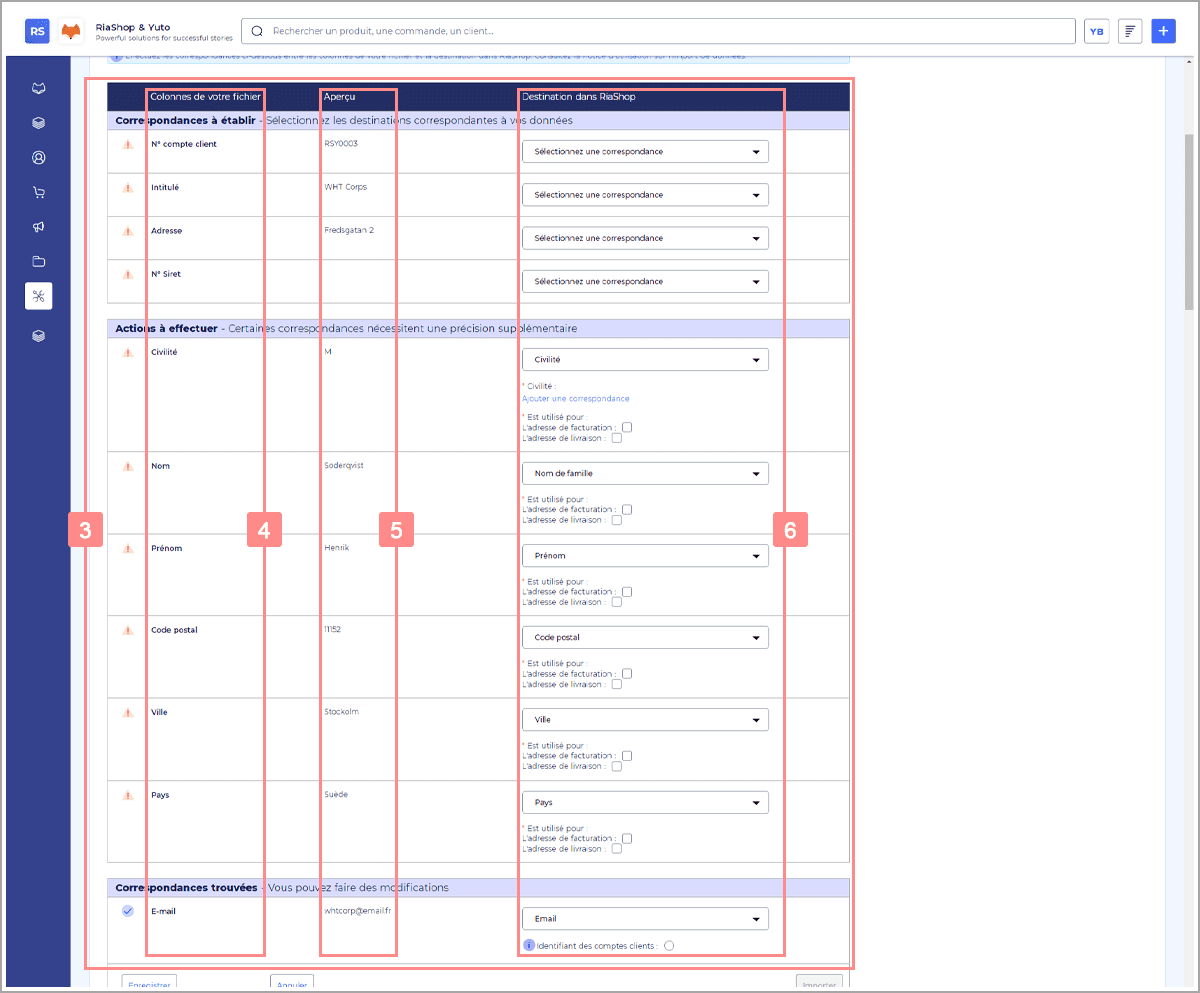 Import RiaShop - Tableau de configuration
