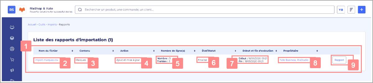 Présentation de l'import - Page Rapports