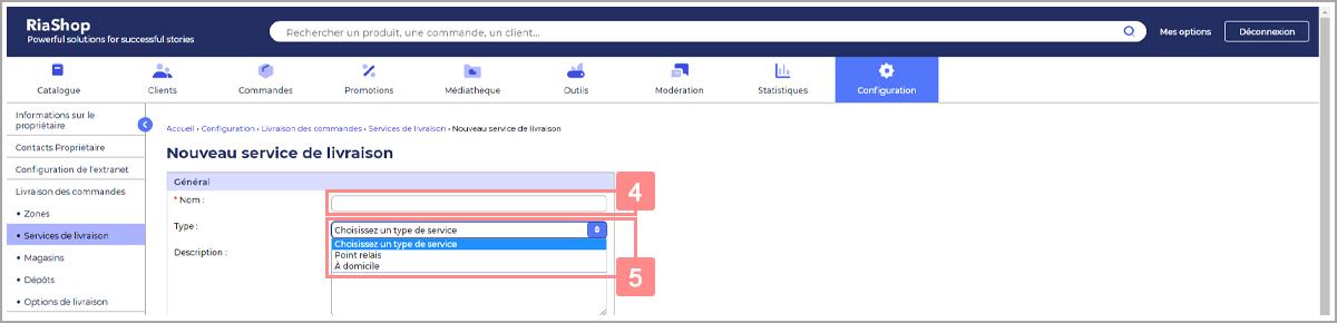 Renseigner un nom et choisir un type de service de livraison - Centre d'aide RiaShop et Yuto