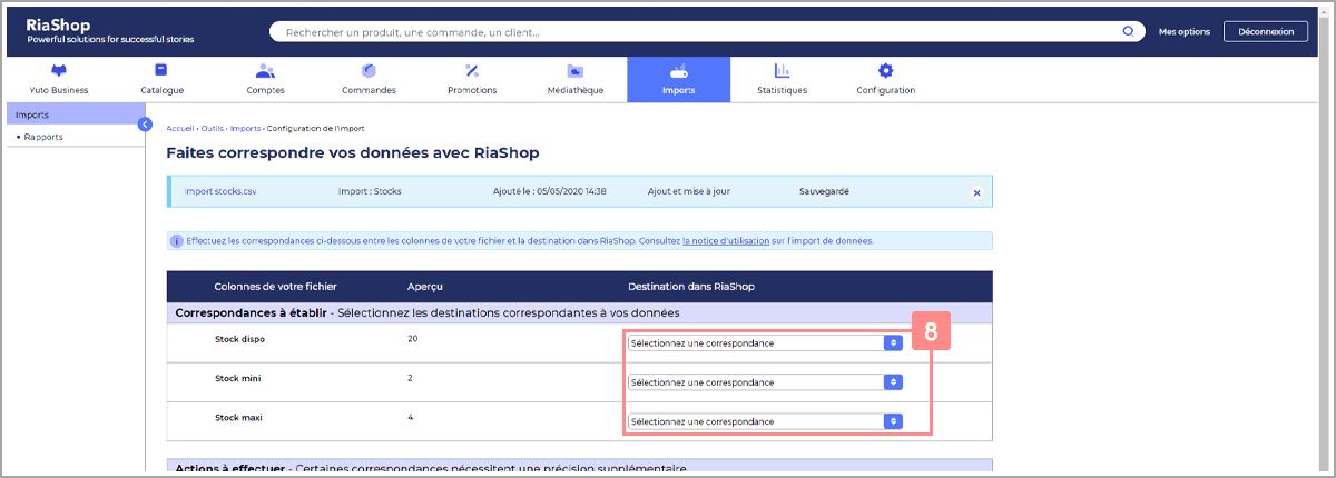 Etablir les correspondances manquantes import stocks - Centre d'aide RiaShop et Yuto