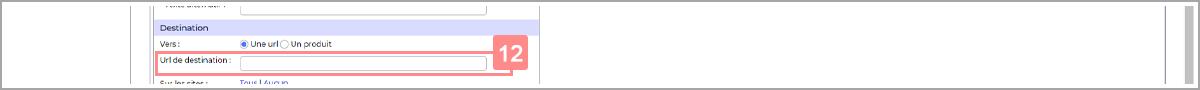 Saisir URL de destination - Centre d'aide RiaShop et Yuto