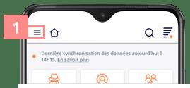 Ouvrir le menu de l'application Yuto Business