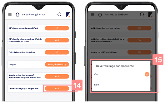 Paramétrer l'empreinte digitale de votre application Yuto Business