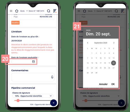 Choisir la date de livraison d'un devis sur le CRM mobile Yuto