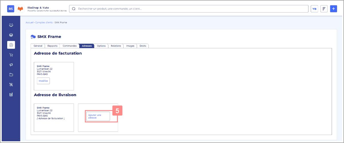 Ajouter une adresse de livraison sur un compte client dans RiaShop