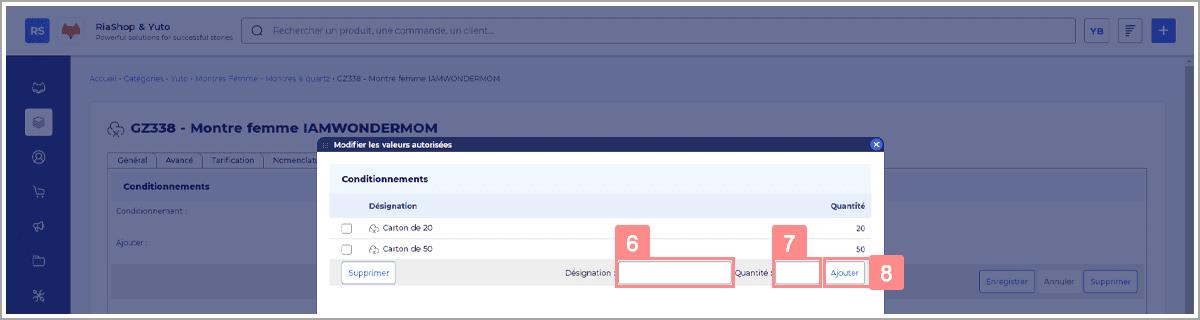 Éditer la liste des conditionnements dans RiaShop