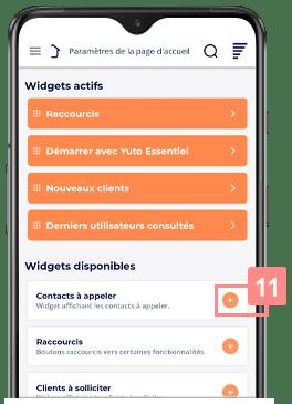 Accueil du CRM mobile Yuto Essentiel - Activer les widgets