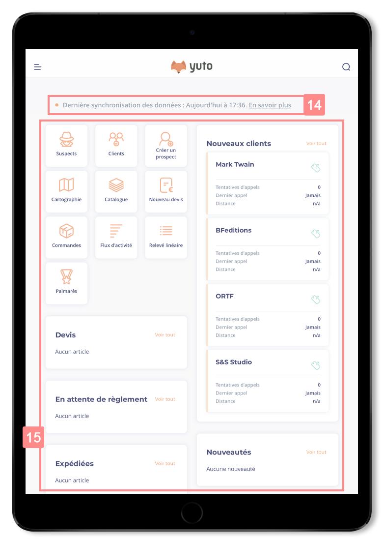 Page d'accueil de l'application Yuto Business