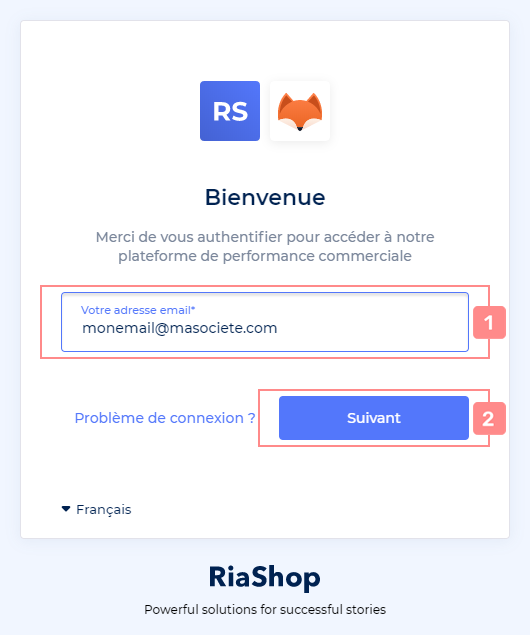 Interface d'identifiant de connexion RiaShop