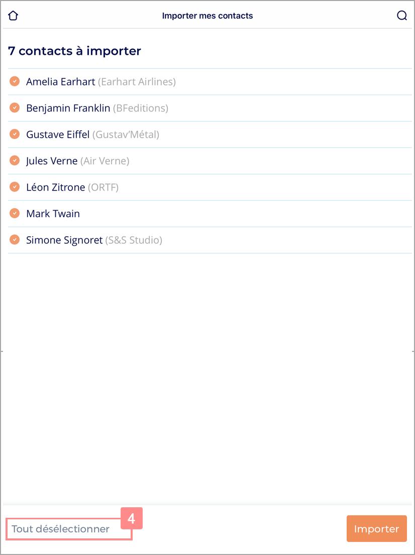 Liste des contacts à importer dans Yuto Essentiel