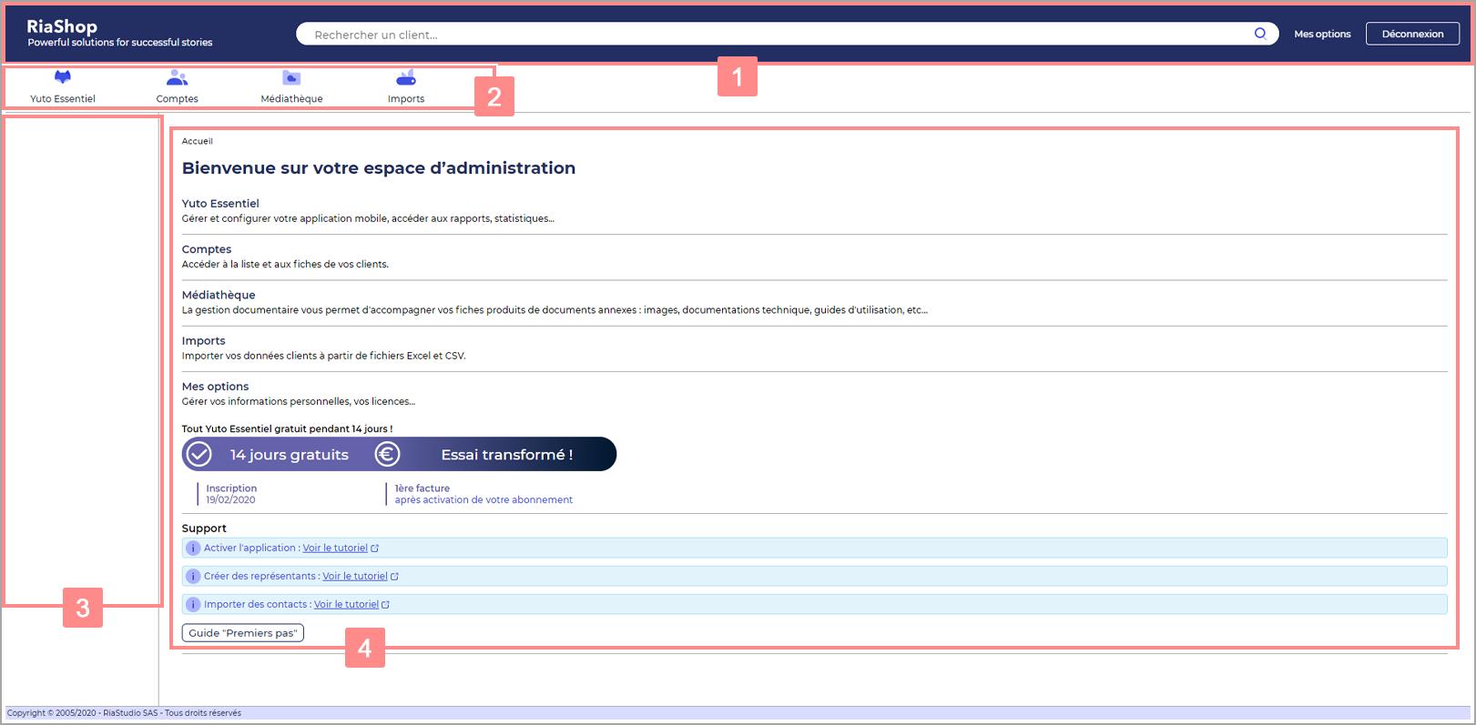 Page d'accueil de l'administration Yuto Essentiel