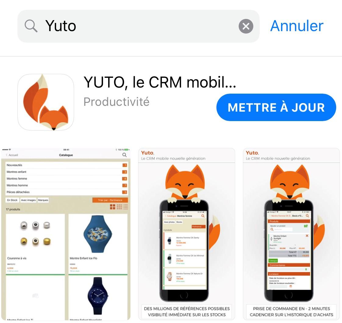 Yuto crm sur iOS