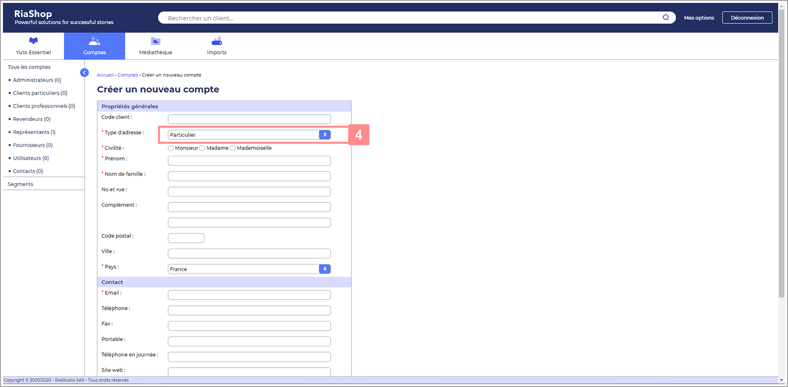 Etape 3 : Sélectionnez le type d'adresse du compte représentant Yuto Essentiel