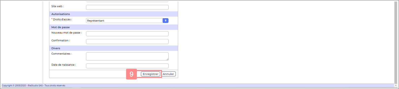 Etape 6 : Enregistrez le nouveau compte représentant Yuto Essentiel