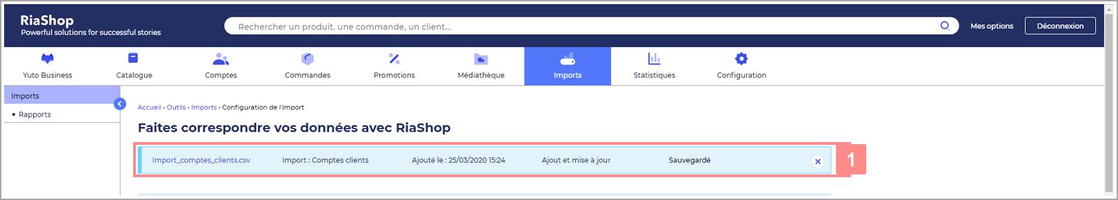 Informations d'un import sur la page configuration - Aide Yuto Business