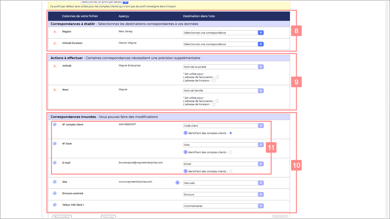 Catégories du tableau de correspondances de l'import RiaShop - Aide Yuto Business