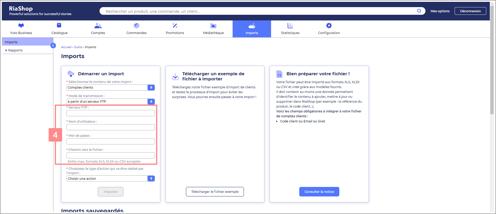 Transmission des comptes clients par un serveur FTP dans RiaShop - Aide Yuto Business