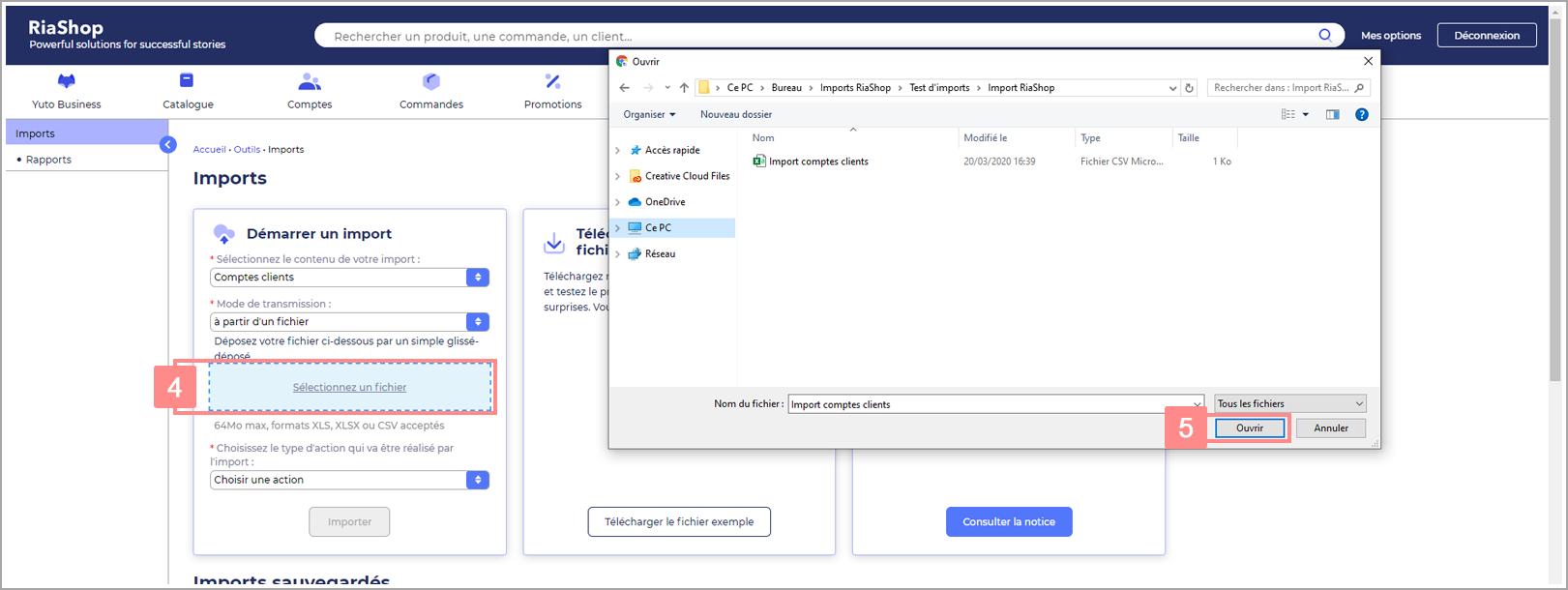 Transmission des comptes clients par un fichier d'import dans RiaShop - Aide Yuto Business