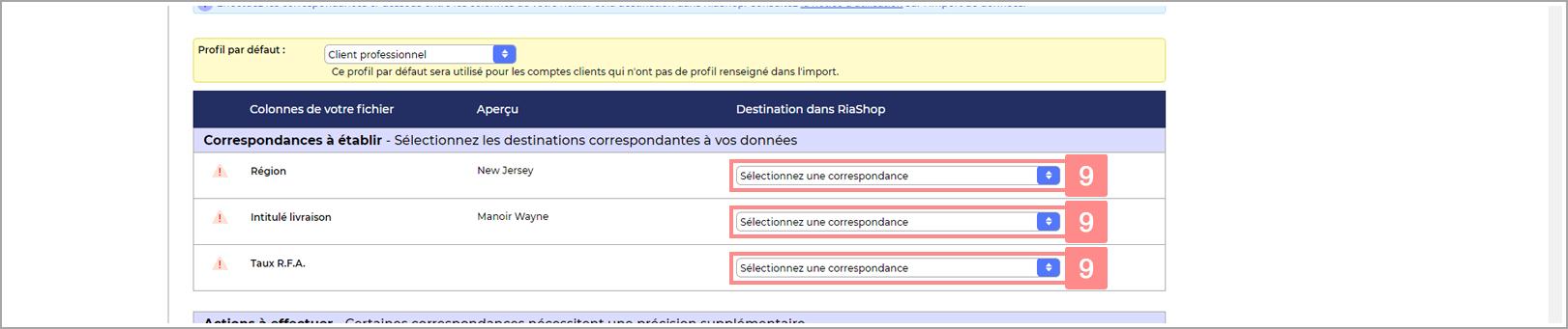 Correspondances à faire dans la configuration de l'import RiaShop - Aide Yuto Business