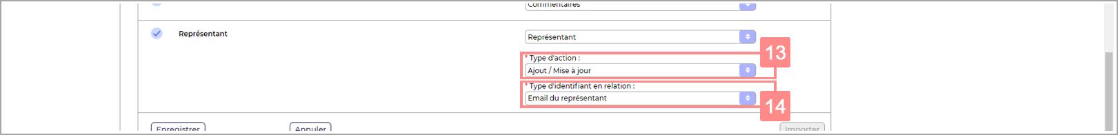 Attribution d'un représentant aux comptes clients dans la configuration de l'import RiaShop - Aide Yuto Business