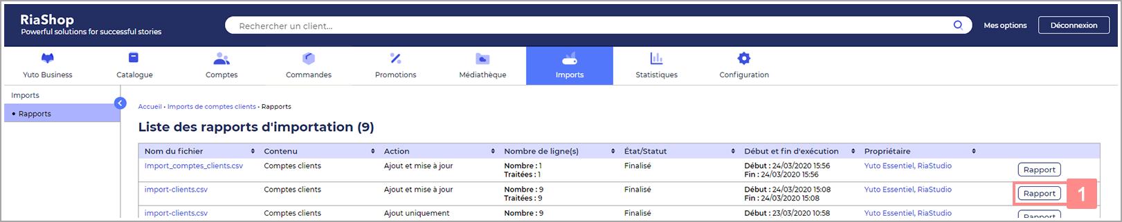 Rapport d'import dans RiaShop - Aide Yuto Business