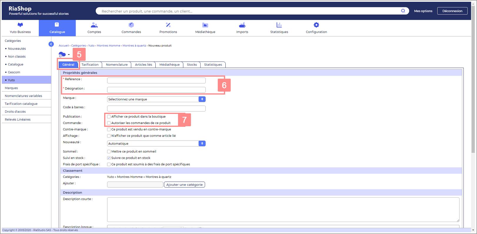 Renseigner les champs importants dans d'une fiche produit dans RiaShop