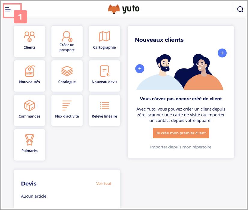 Étape 2 : Accédez au menu de Yuto Business