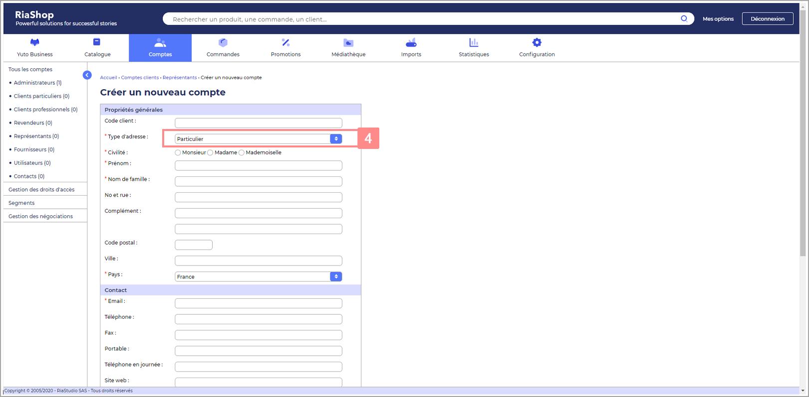 Etape 3 : Sélectionnez le type d'adresse du compte représentant Yuto Business