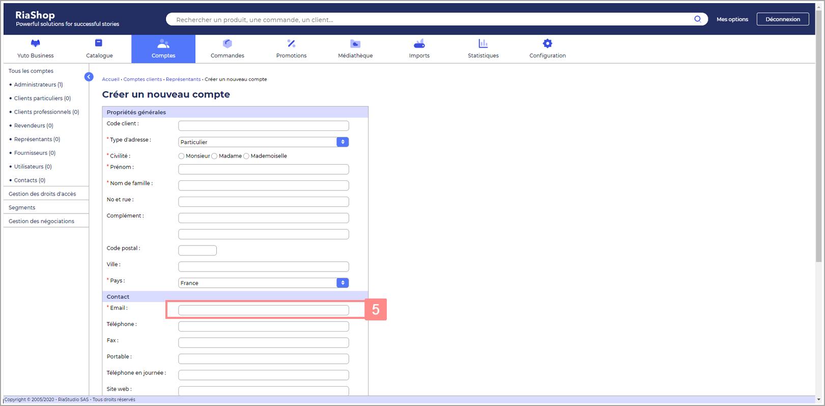 Etape 4 : L'email est l'identifiant de connexion de votre représentant Yuto Business