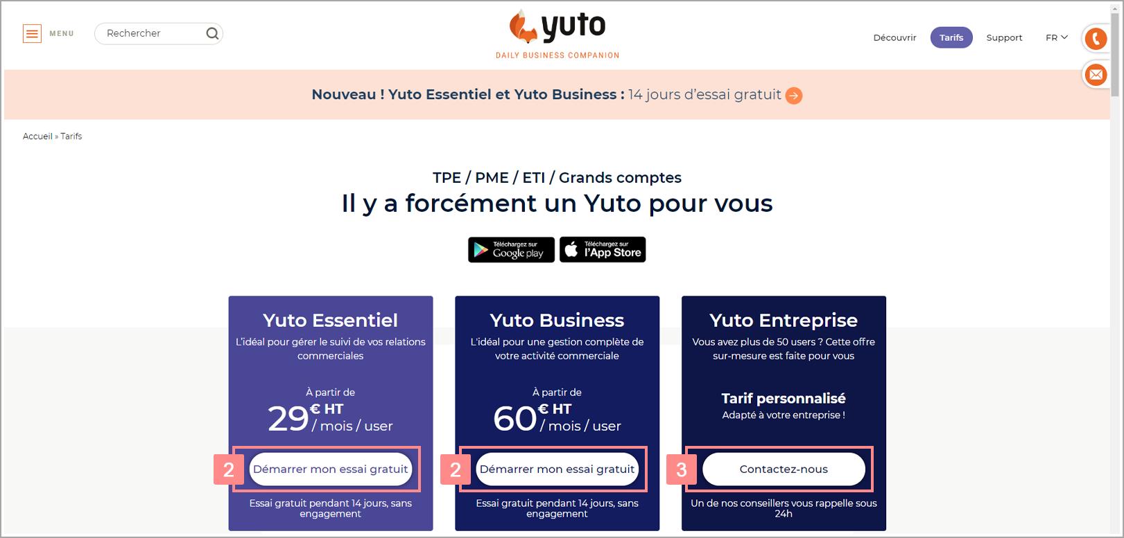 Les abonnements Yuto