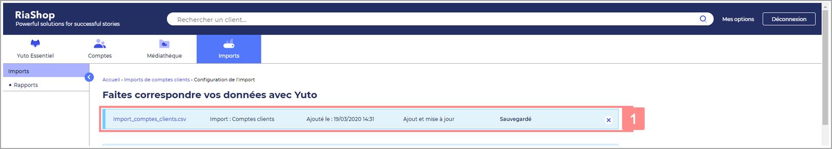 Page de configuration de l'import RiaShop - Détails de l'import en cours