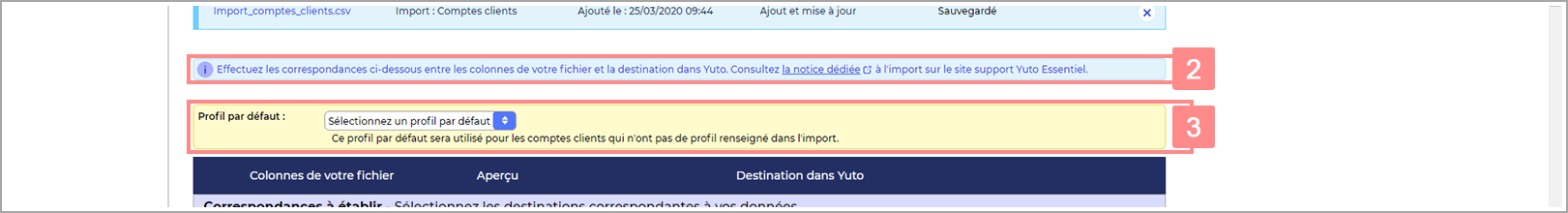 Page de configuration de l'import RiaShop - Notice et choix du profil par défaut