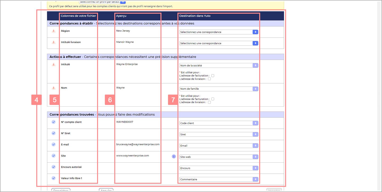 Page de configuration de l'import RiaShop - Tableau de maillage